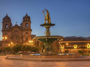 Hintergrundbilder Peru Gebäude Tempel Springbrunnen Skulpturen Kirche HDRI Nacht Straßenlaterne Cusco Städte