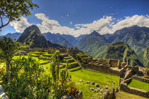 Pictures Peru Ruins Parks Mountains HDR Moss Lawn Plaza central Machu Picchu Nature