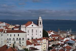 Tapety na pulpit Portugalia Budynki Kościół Lizbona Alfama