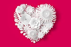 Desktop hintergrundbilder Roter Hintergrund Herz Blumen 3D-Grafik