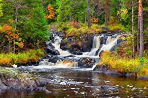 Hintergrundbilder Flusse Wasserfall Herbst Stein Russland Karelia, Ruskeala waterfalls, waterfall Ahvenkoski, river Tokhmayoki Natur