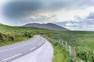 Hintergrundbilder Straße Irland Gras Zaun Ring of Kerry Natur