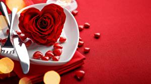Papel de Parede Desktop Rosas Faca Toalha de mesa Dia dos Namorados Coração Vermelho flor