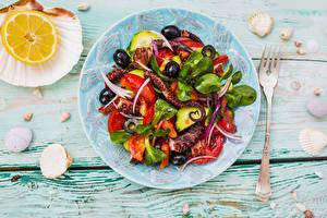 Picture Salads Vegetables Lemons Seafoods Shells Wood planks Plate Fork Food