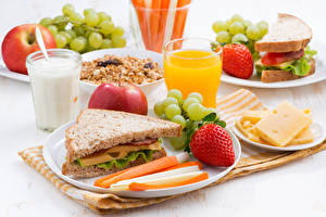 Picture Sandwich Bread Strawberry Milk Juice Cheese Grapes Apples Breakfast Highball glass Food