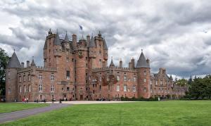 Tapety na pulpit Szkocja Zamek Trawnik Glamis Castle miasto