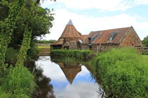 Fotos Schottland Kanal Gras Wassermühle East Linton