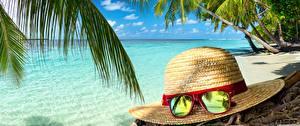 Hintergrundbilder Meer Tropen Strände Palmen Der Hut Brille Natur