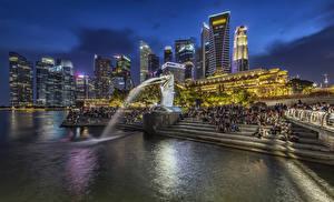 Fotos Singapur Parks Gebäude Abend Springbrunnen Skulpturen Treppe Merlion Park Städte