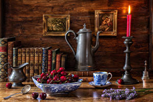 Pictures Still-life Candles Cherry Pitcher Book Cup Food