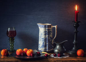 Image Still-life Candles Wine Apricot Cherry Wall Jug container Stemware Food