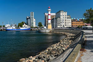 Photo Sweden Houses Stone Berth Lighthouses Ships Bay  Cities