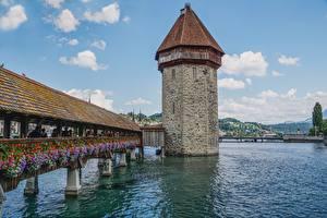 Fonds d'écran Suisse Ponts Rivières Les tours Chapel bridge, Lucerne, Reuss river