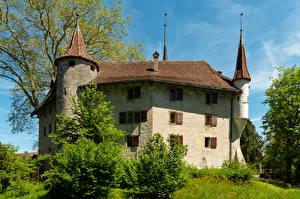 Fonds d'écran Suisse Château fort Arbrisseau Landshut Castle Utzenstorf Villes