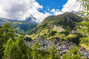 Hintergrundbilder Schweiz Berg Gebäude Alpen Zermatt