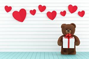 デスクトップの壁紙、、テディベア、バレンタインデー、ハート、贈り物、