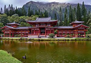 Bilder Tempel Berg Flusse Hawaii Oahu Byodo-In Temple Städte