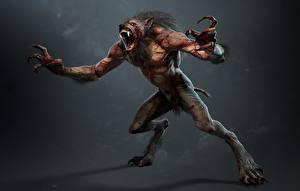 Bilder The Witcher 3: Wild Hunt Werwolf Ungeheuer Krallen lycanthrope lycan werewolf computerspiel 3D-Grafik