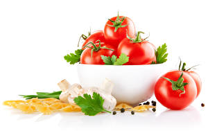 Wallpaper Tomatoes Mushrooms Black pepper White background Pasta Bowl Food