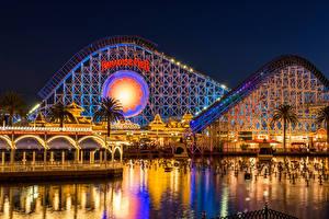 Pictures USA Disneyland Parks Houses Pond California Anaheim Night Design Fairy lights Cities