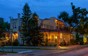 Image USA Houses Evening Florida Street Street lights Spruce Saint Augustine Beach Cities