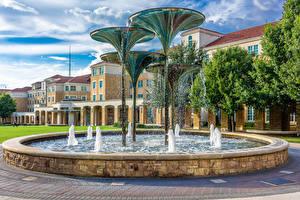 Bilder USA Gebäude Springbrunnen Texas Design Spritzwasser Fountain in Fort Worth Städte