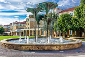 Desktop wallpapers USA Building Fountains Texas Design Water splash Fountain in Fort Worth Cities