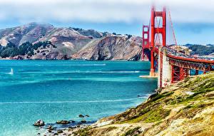 Hintergrundbilder Vereinigte Staaten Berg Fluss Brücken San Francisco