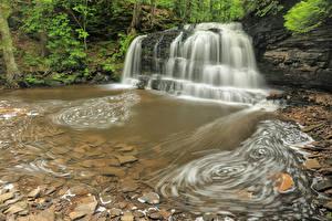 Hintergrundbilder USA Park Wasserfall Steine Felsen Hiawatha National Forest Michigan Natur