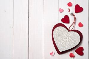 デスクトップの壁紙、、バレンタインデー、ハート、木の板、