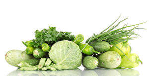 Picture Vegetables Cabbage Bell pepper Cucumbers Zucchini White background Food