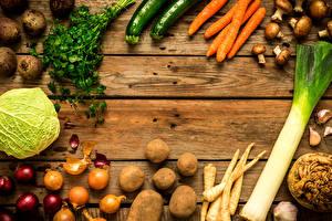 デスクトップの壁紙、、野菜、ジャガイモ、キャベツ、人参、玉葱、キノコ、木の板、食べ物