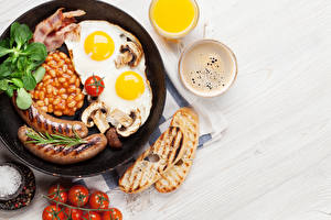 Image Vienna sausage Bread Tomatoes Coffee Cappuccino Frying pan Fried egg Food