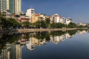 Fotos Vietnam Gebäude Fluss Spiegelung Spiegelbild Hanoi