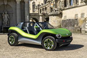 桌面壁纸,,大众汽车,黃綠色,2019 I.D. Buggy,