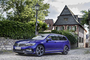 Bureaubladachtergronden Volkswagen Blauw kleur Metallic Stationcar 2019 Passat R-Line Variant Worldwide Auto