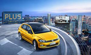 桌面壁纸,,大众汽车,黄色,2019 Polo Plus,