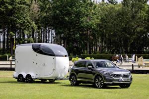 Hintergrundbilder Volkswagen Grau 2019 Touareg V8 TDI Worldwide Autos