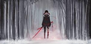 Papel de Parede Desktop Guerreiros Espadas Neve Aoi Ogata Meninas