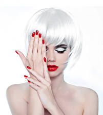 Photo White background Blonde girl Makeup Hands Manicure Red lips Haircut Girls