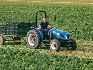 Fotos Landwirtschaftlichen Maschinen Felder Traktoren 2014-19 New Holland TD3.50