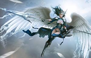 Photo Angels Warriors Spear Beautiful Wings Armour Shield Valkyrie, Lee Hyun woo Girls