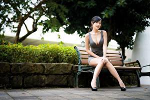 Bilder Asiatische Bein Schön Unscharfer Hintergrund Bank (Möbel) Brünette Sitzend Dekolleté  Mädchens