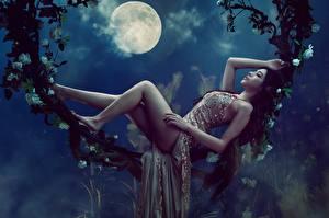 Fotos Asiatische Mond Nacht Hinlegen Bein Schönes Kleid Model Posiert