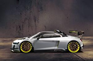 Hintergrundbilder Audi Silber Farbe Seitlich 2019 R8 LMS GT2 Autos