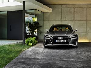Wallpapers Audi Front Gray Estate car 2020 2019 V8 Twin-Turbo RS6 Avant automobile