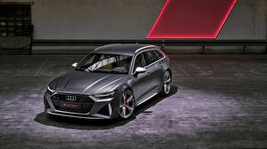 Bilder Audi Graue Kombi 2020 2019 V8 Twin-Turbo RS6 Avant Autos