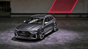 Wallpapers Audi Gray Estate car 2020 2019 V8 Twin-Turbo RS6 Avant Cars