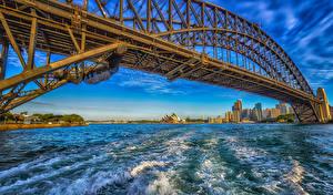 Pictures Australia Houses Bridges Waves Sydney Bay Cities