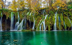 Hintergrundbilder Herbst See Wasserfall Park Kroatien Felsen Plitvice Lakes National Park Natur